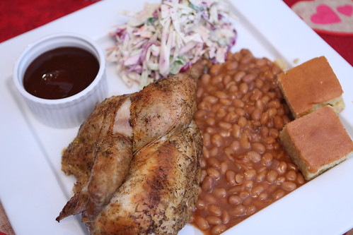 BBQ Chicken with Cole Slaw, Baked Beans, and Cornbread
