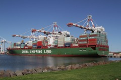 China Shipping Line 'Xin Qing Dao' at Swanson Dock West, Melbourne