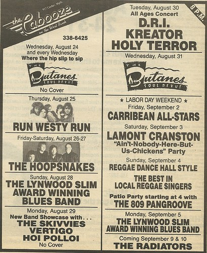 08/30/88 D.R.I./ Kreator/ Holy Terror @ The Cabooze, Minneapolis, MN