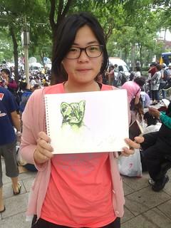 景文科大的學生手繪石虎,表達訴求。攝影:詹嘉紋