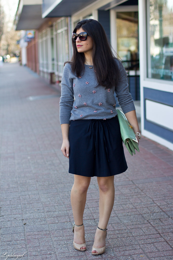 grey jeweled sweater, navy skirt, mint clutch-1.jpg