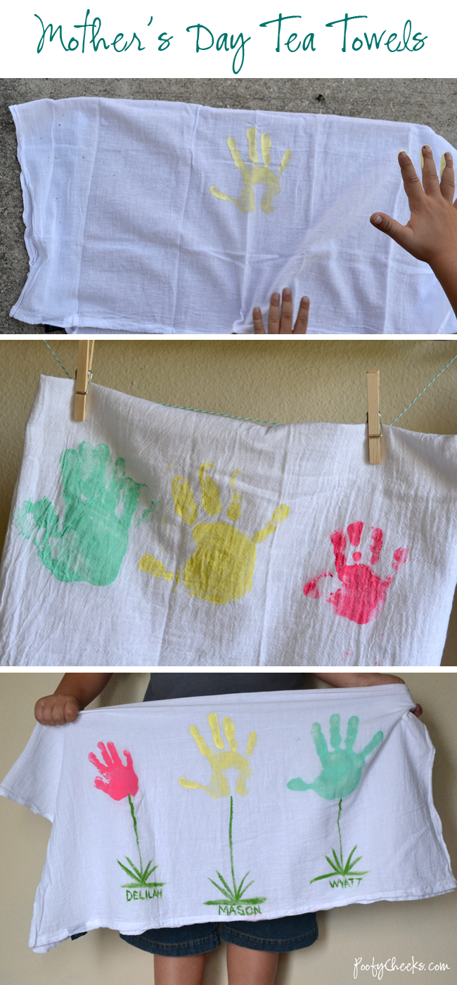 Mother's Day Handprint Tea Towel