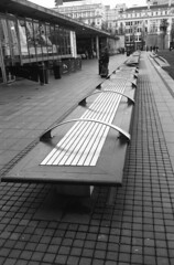Benches Piccadlly gardens Manchester Agfa APX 400