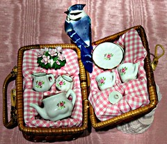 Tea Set In A Basket
