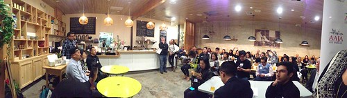 "PANORAMIC: Sold out crowd at @AAJAla's ""Food, Journalism & Authenticity"" event! #aajalafood"