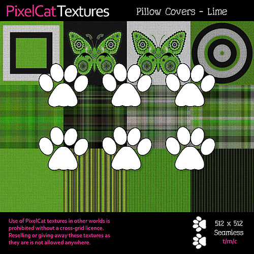 PixelCat Textures - Pillow Covers - Lime