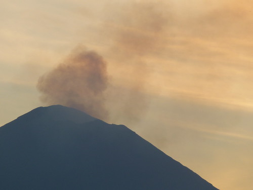 - Popocatepetl (18,000 ft)  releasing smoke