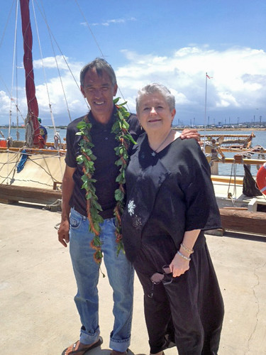 <p>Master Navigator Nainoa Thompson and President M.R.C. Greenwood in front of the Hokule'a after a news conference on on May 29, 2013. The news conference was on Hokule'a's upcoming Worldwide Voyage.</p>