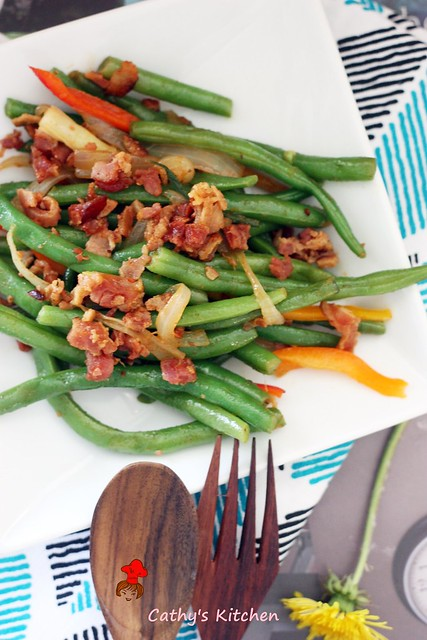 西式培根炒四季豆 Stir green bean with bacon 2