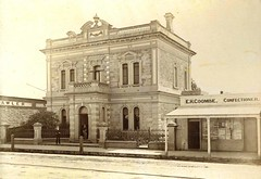 66 Murray Street National Australia Bank - Built 1881        R.Robilliard in doorway - Deland collection