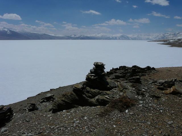 A cairn on the banks of Tso Moriri