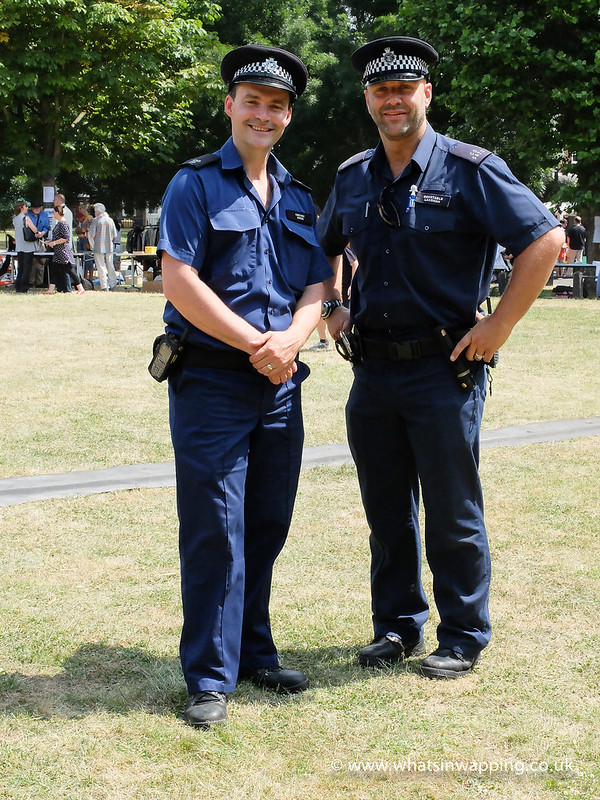 Police Officers from the Marine Police Unit in Wapping enjoying the community spirit on Wapping Green