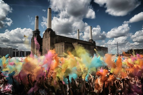 The Old power station made a great backdrop for Holifestival. More at rugfoot.net/holi-festival. Festival Battersea Power Station Battersea at Battersea Power Station