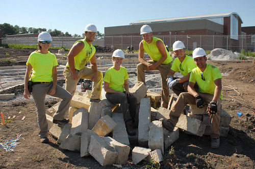 Landscape architecture students with professor Julie Stevens at ICIW construction site