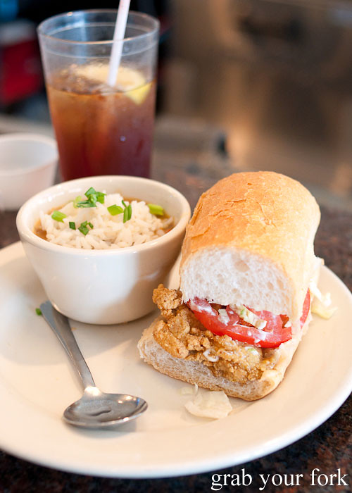 half oyster po' boy with gumbo at felix's restaurant and oyster bar new orleans louisiana