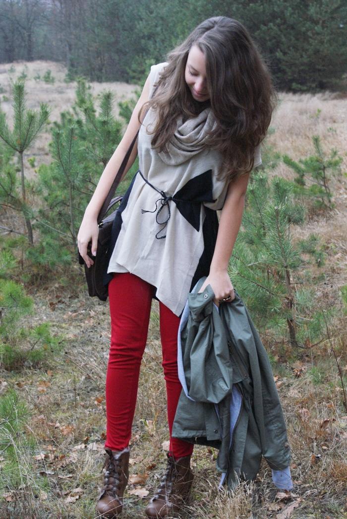jesienna stylizacja zielona parka romwe
