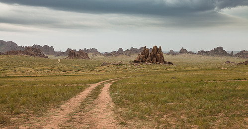 road travel landscape desert cloudy adventure mongolia valley gobi chuluu dundgovi gazriin