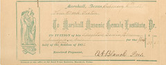 Tuition record for daughter of Franklin Sexton to the Marshall Masonic Female Institute