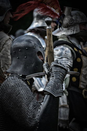 Preparing for Battle, Herstmonceux Medieval Festival, Herstmonceux Castle