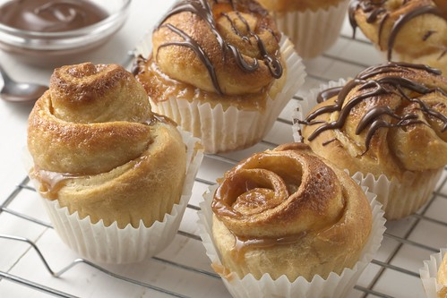 Peanut butter caramel sticky rolls