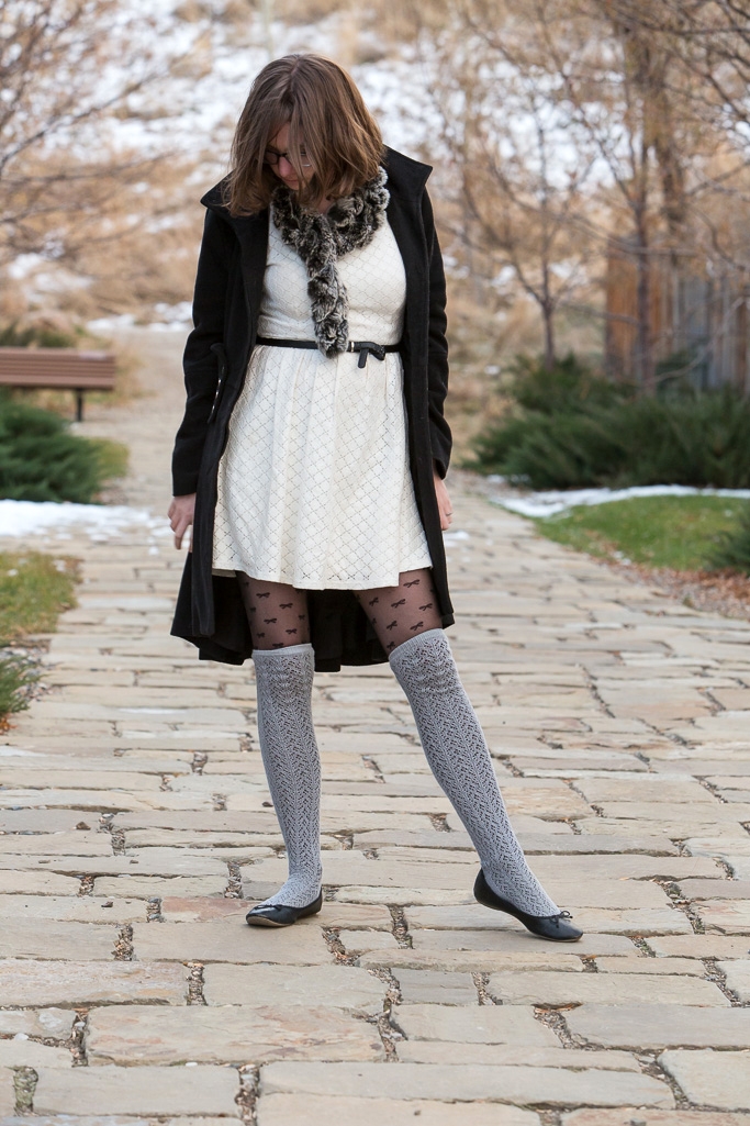 Winter Whites, winter, white dress, dress, long sleeved dress, fur, scarf, outfit of the day, coat, wyoming,