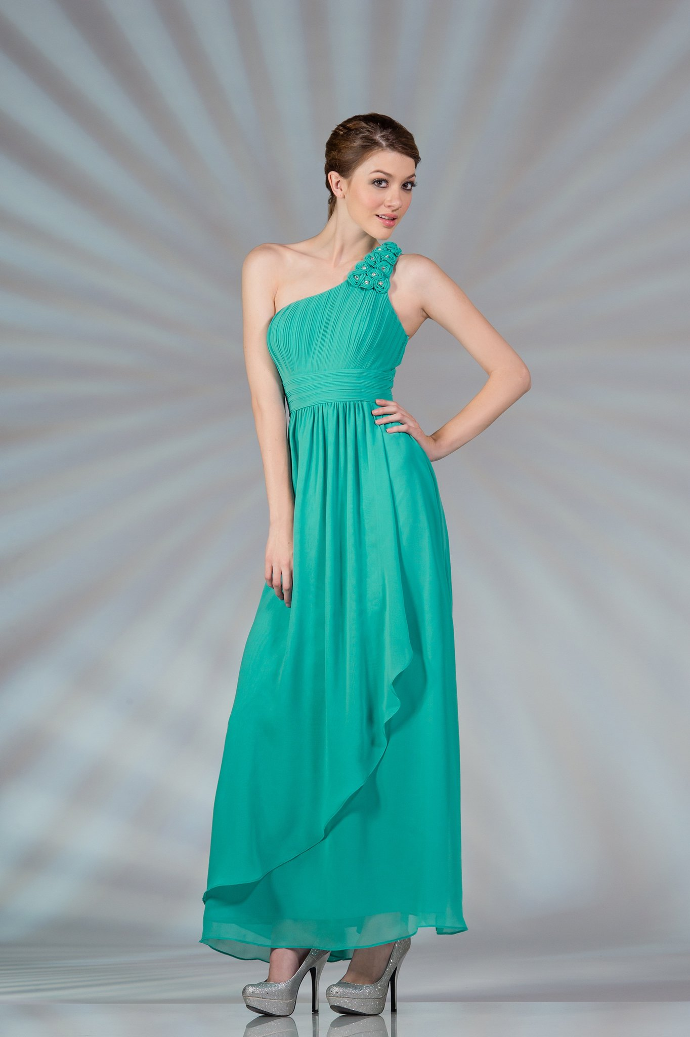 Flowy Dress Elegant One Shoulder Chiffon Prom Bridesmaid