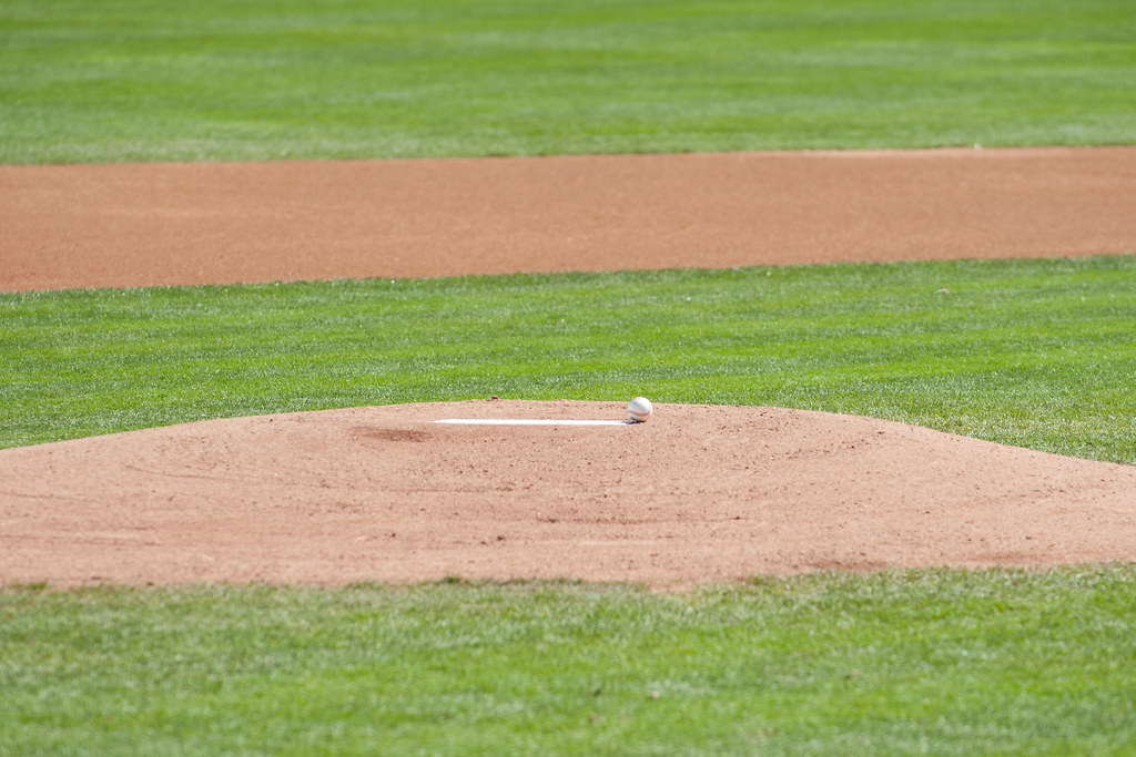 Baseball on the pitchers mound