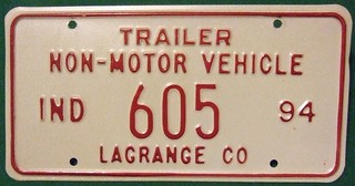 INDIANA , LAGRANGE COUNTY  1994 ---NON-MOTOR VEHICLE TRAILER PLATE