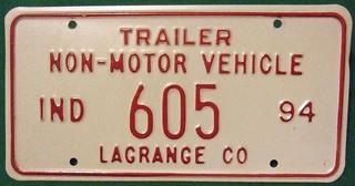 INDIANA , LAGRANGE COUNTY  1994 ---NON-MOTOR VEHICLE TRAILER PLATE