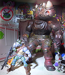 "TEENAGE MUTANT NINJA TURTLES - CLASSIC COLLECTION :: ROCKSTEADY & BEBOP { tOkKustom Punk touch-ups } xxxiv // ..Rocky with '90 ""GIANT SIZE"" BAD BOYS 13"" Rocksteady (( 2013 ))"