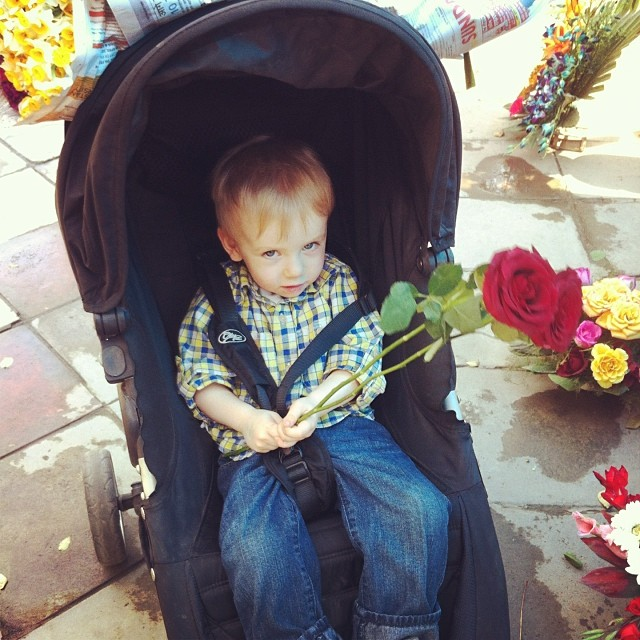 Two red roses for my little romantic #toddlers #flowerwallah #delhi #india