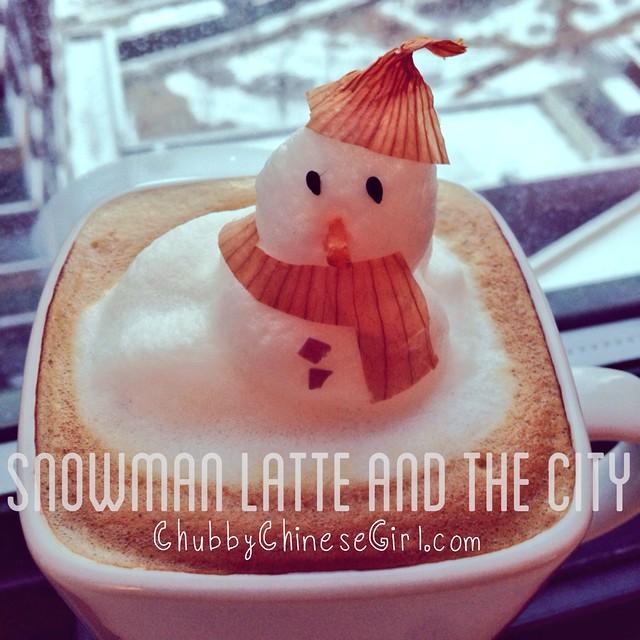 snowman 3D latte art - chubbychinesegirl 2