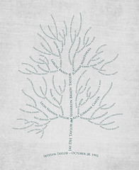Family tree with names art light gray black ancestry roots