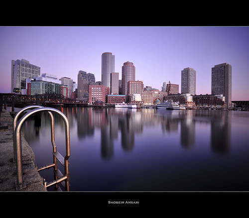 city longexposure cruise blue usa reflection boston skyline architecture modern sunrise ma harbor downtown cityscape dusk massachusetts chain financialdistrict ladder bluehour nd110 shobeiransari