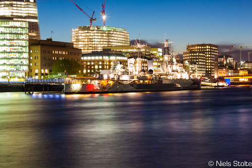 HMS Belfast and Southwark at Blue Hour / London, UK