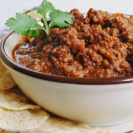 My Favorite Chili, so meaty and thick. It even has a touch of chocolate to bring all the flavors together but you would never guess it.