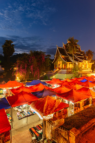 trip travel sunset vacation building tourism vertical architecture night temple town nikon scenery worship asia place market dusk buddha faith religion buddhism landmark d750 laos tamron trade stalls luangprabang 1735mm