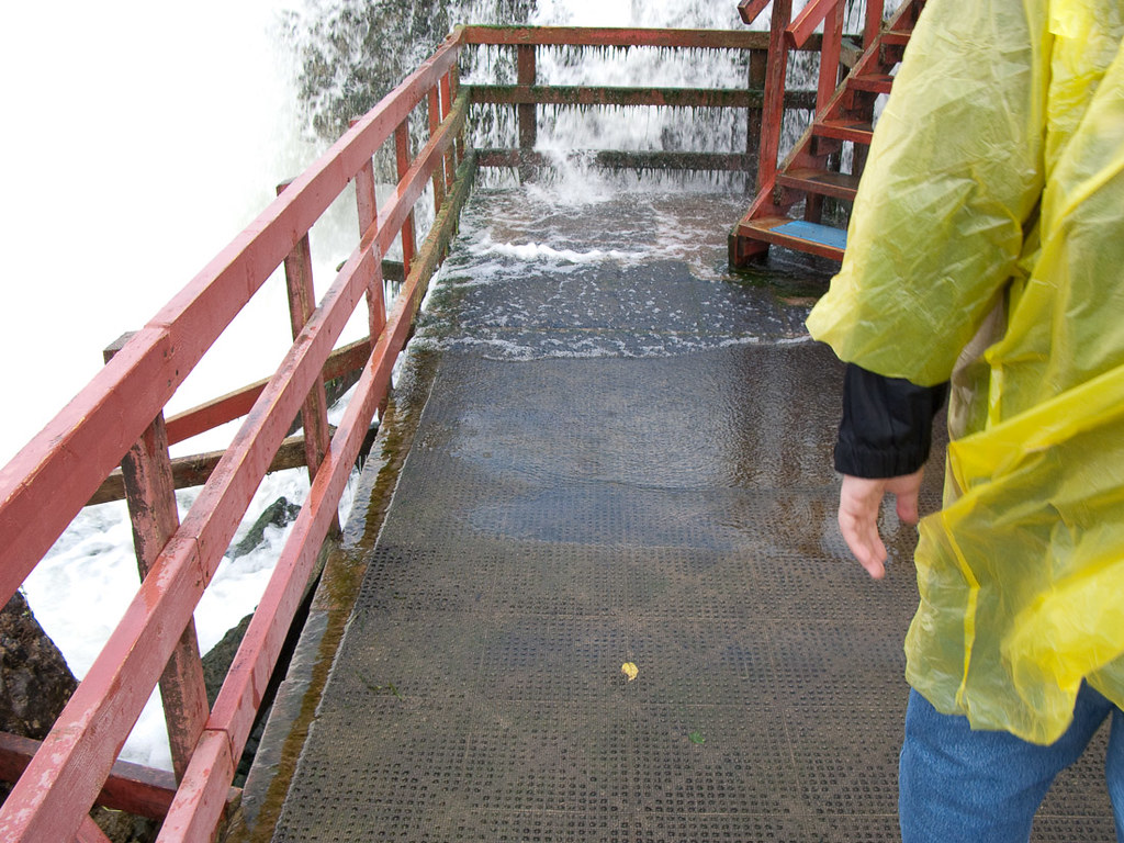 Water coming over platforms at Cave of the Winds