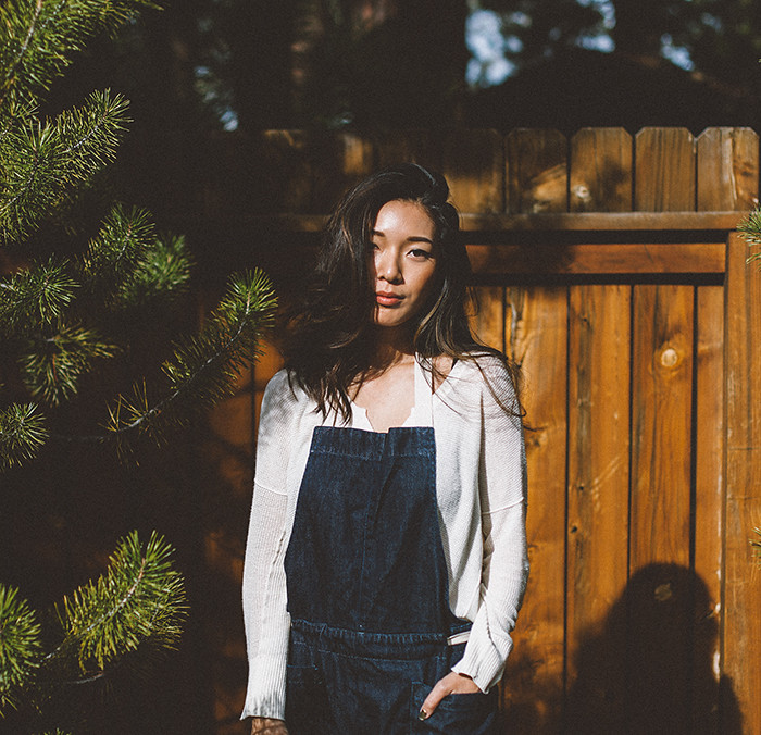 Honey & Silk in Truckee, CA Wearing Free People Overalls and Luxe Me Now Slippers