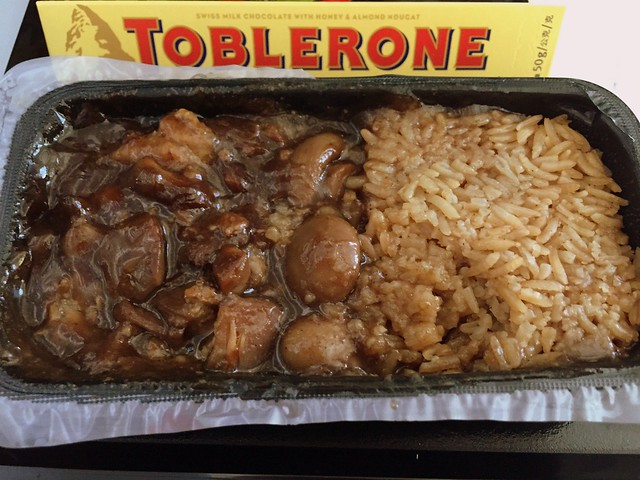 Soy sauce chicken and mushrooms with rice - tastes better than it looks
