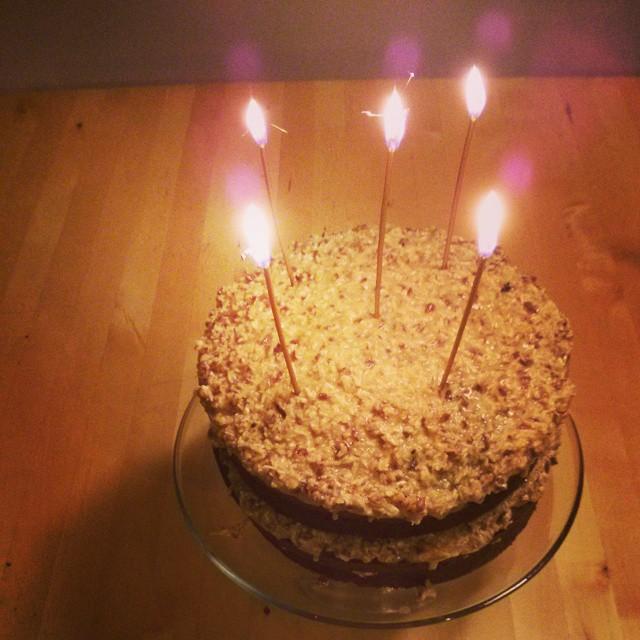 Homemade Organic German Chocolate Birthday Cake W Sparkle Candles
