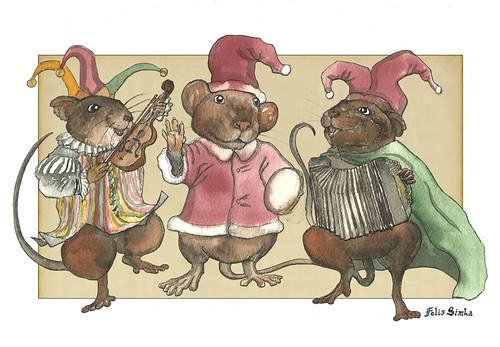 3 Clown Mice Celebrate Christmas