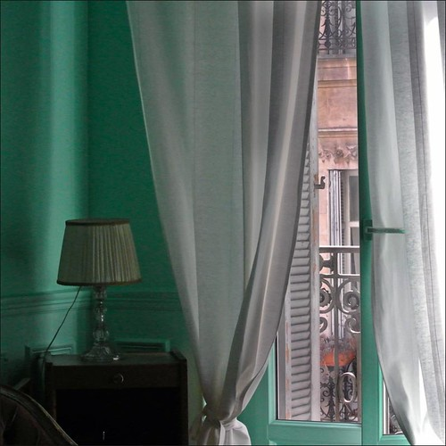 green window hotel marseille view curtain