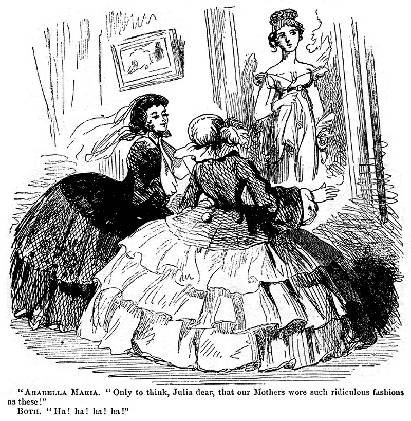 1857 Cartoon comparing crinolines to Regency fashion