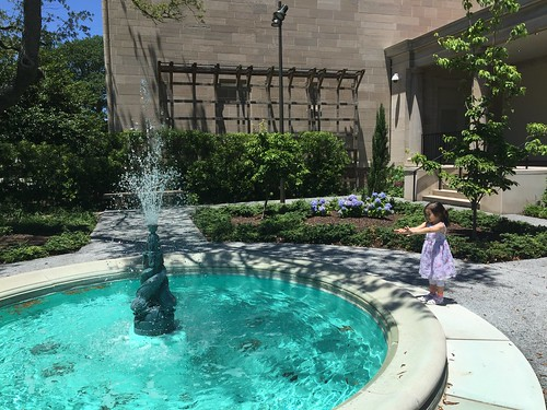 SlytherBun feeling the fountain's spray in the garden at The Chrysler Museum of Art