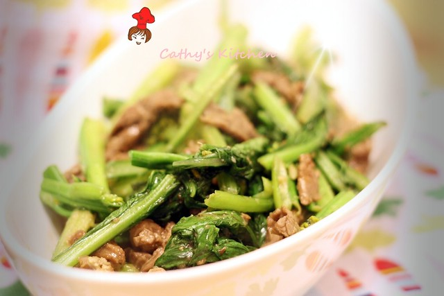 芥蘭炒牛排 Stir fried Steak with Chinese broccoli 3