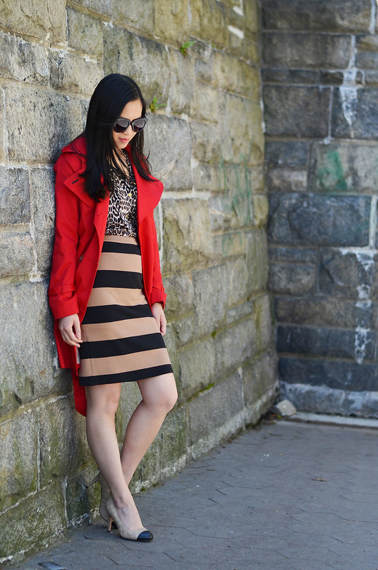 neutral beige leopard blouse & stripe pencil skirt, with red trench coat