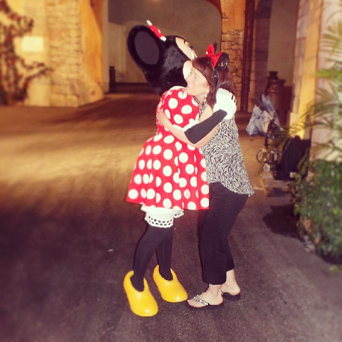 My mom went to Disneyland the year it opened and never had her picture taken with Minnie,  until now. #DisneySMMoms