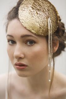 gold sequin hat bridal headpiece