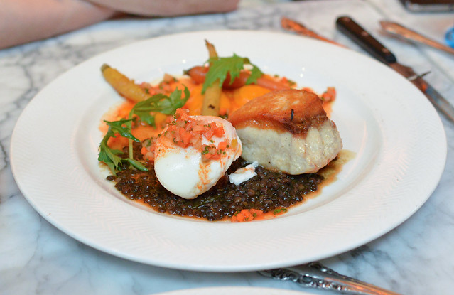 QUINAULT RESERVATION STURGEON braised bacon, poached egg, beluga lentils, carrots